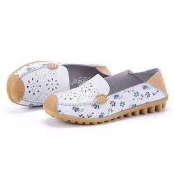 Women Leisure Shoes Breathable Hollow Out Flats Soft Sole Loafers Flower Printing Loafers - EY Shopping