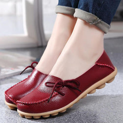 LOSTISY US Size 5-13 Women Soft Comfortable Lace-Up Breathable Casual Leather Flats Shoes - EY Shopping