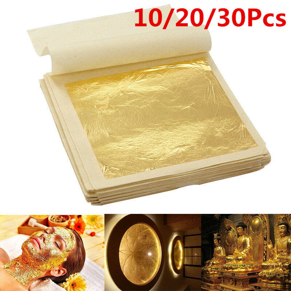10Pcs Imitation Gold Foil Sheets for Arts Gilding Crafting Decoration DIY