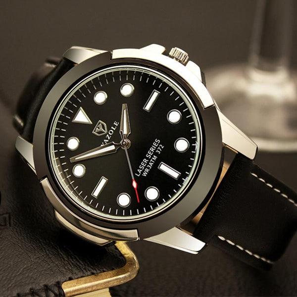 YAZOLE 372 Men Luminous Display Sport Alloy Case Wearable PU Band Men Watch Quartz Watch