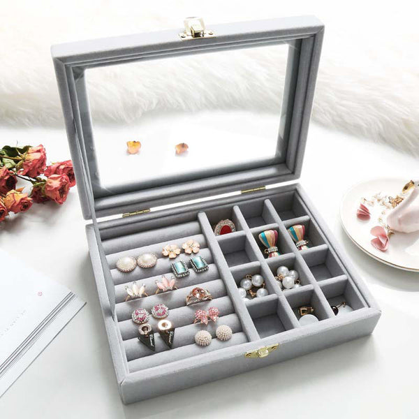 5 Colors Dual-Lock Ring Earring Jewelry Box Flannel Material Storage Box Dressing Table