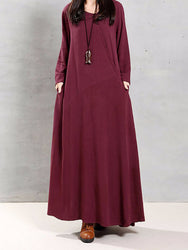 Vintage Women Cotton O-Neck Solid Color Irregular Hem Maxi Dress