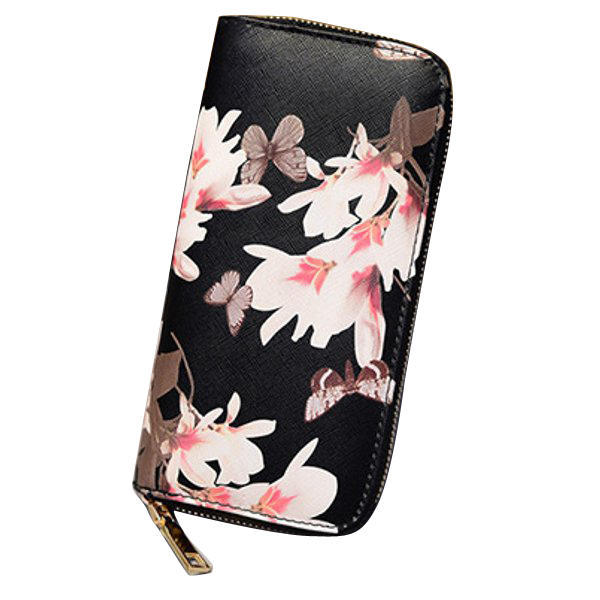 Women Butterfly Zipper Long Wallet Girls Cute Flower Purse Card Holder Coin Bags Clutches Bags
