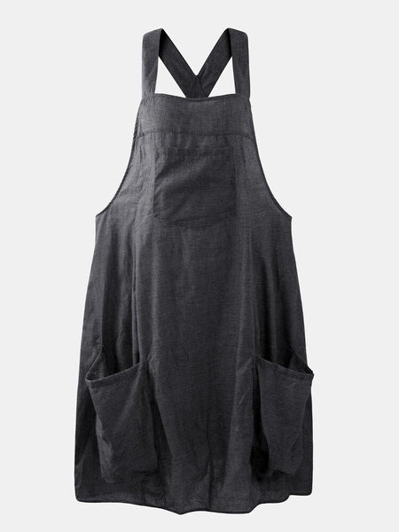 Women Straps Sleeveless Back Cross Pocket Dress Overalls - EY Shopping
