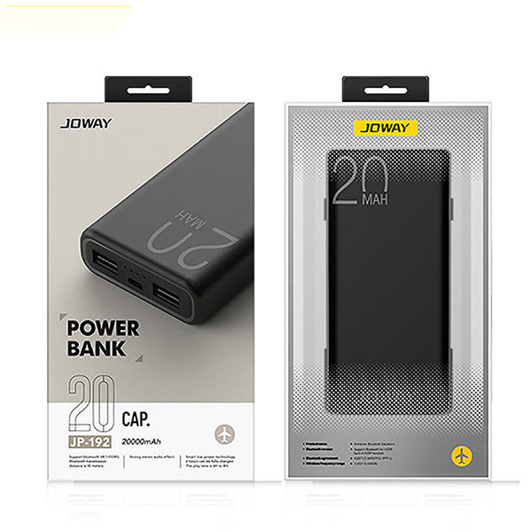 Joway JP192 20000mah Dual USB Power Bank for iPhone 11 Pro X XR XS Max 8 Plus for Samsung S9/S9+ S8 Note 9