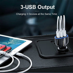 QGEEM QG-CH09 65W QC 3.0 3 USB Car Charger Quick Charge 3.0 LED Light Strip Adapter For iPhone XS 11Pro Xiaomi Mi10 S20+ Note 20 OnePlus 8 Pro