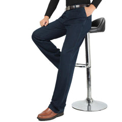 Spring Summer Thin Business Casual Straight Leg Elastic Long Jeans for Men - EY Shopping