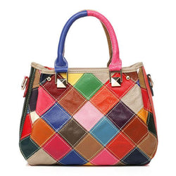 Women Patchwork Cowhide Colorful Handbag Tote Handbag Crossbody Bag - EY Shopping