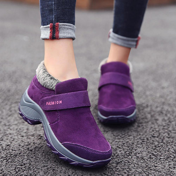 Large Size Women Casual Comfortable Hook Loop Sneakers - EY Shopping