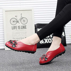 US Size 5-13 Women Flower Flat Shoes Casual Outdoor Leather Slip On Round Toe Loafers - EY Shopping