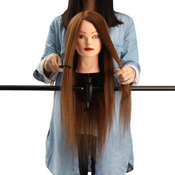 24'' 100% Human Hair Practice Mannequin Head Hairdressing Train Model+Clamp
