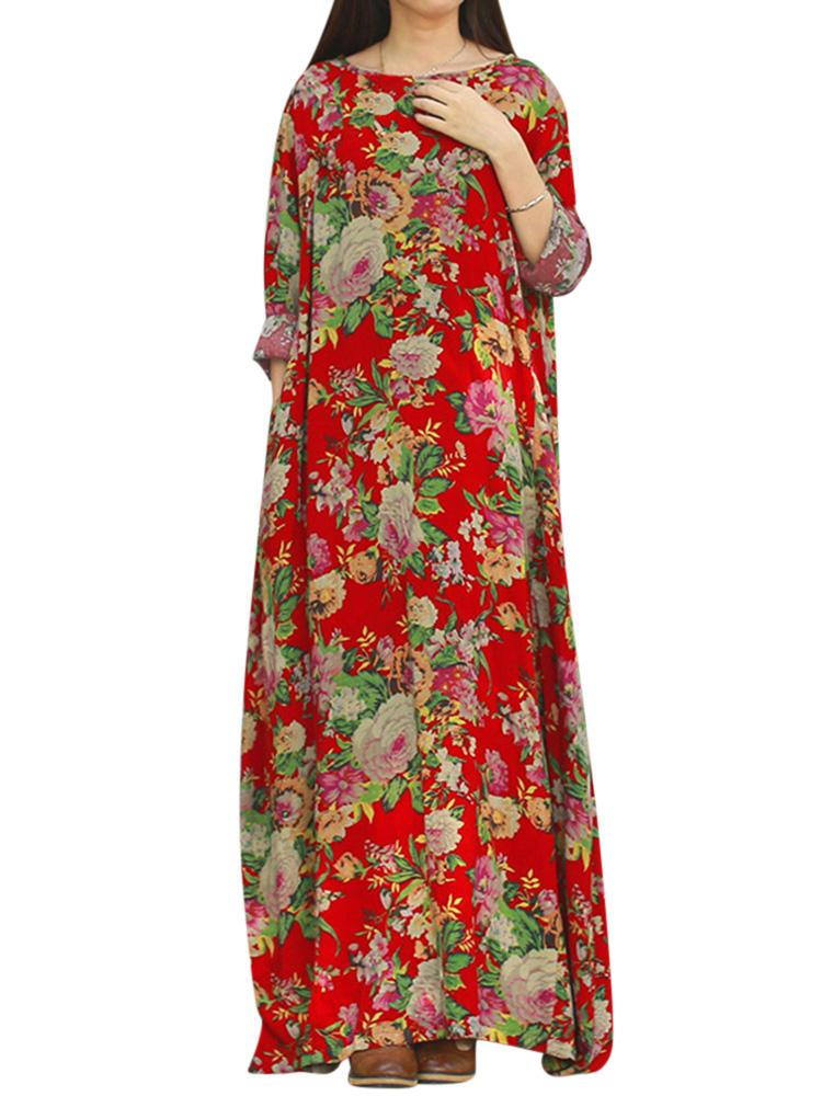 Retro Women Floral Printed Long Sleeve O-Neck Floor-Length Dress - EY Shopping