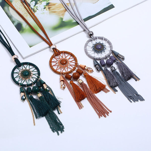 Ethnic Tassels Pendant Long Necklace Dream Net Velvet Chain Charm Necklace Vintage Jewelry for Women