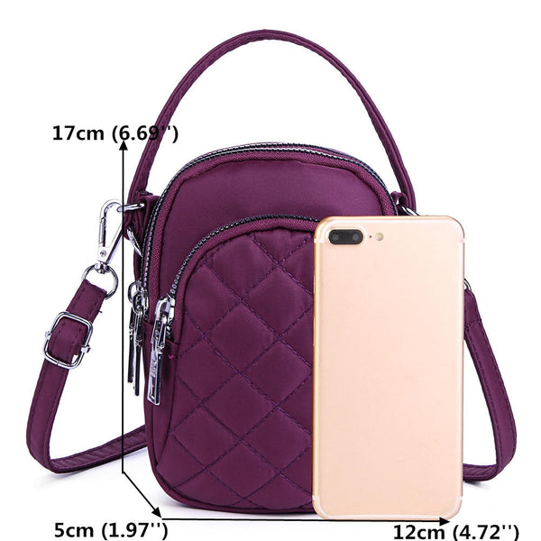 Women Nylon Multi-pocket Phone Purse Lingge Crossbody Bag Lightweight Shoulder Bag
