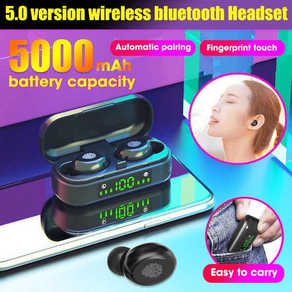 V8-1 TWS bluetooth 5.0 Earphone Wireless Earbuds LED Display 5000mAh Power Bank Touch Control Headphone Headset with Mic