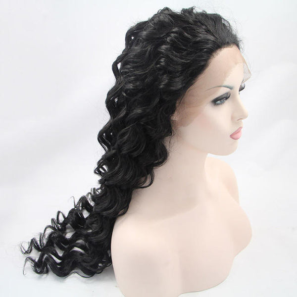 African Black Curly Hair Chemical Fiber Front Lace Wig - Black