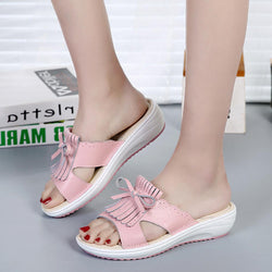 Women Slip On Causal Shoe Leather Tassel Flat Sandals