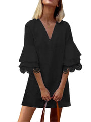 Solid Color Lace Ruffle V-neck Half Sleeve V-neck Casual Dress For Women - EY Shopping