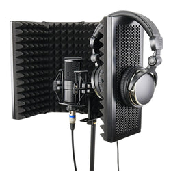 57.5 x 28cm Foldable Adjustable Studio Recording Microphone Isolator Sound Absorbing Foam Panel Mic Isolation Shield Stand Mount