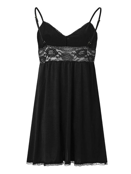 S-7XL Women Lace Bowknot Solid Color V-neck Sling Nightgown - EY Shopping