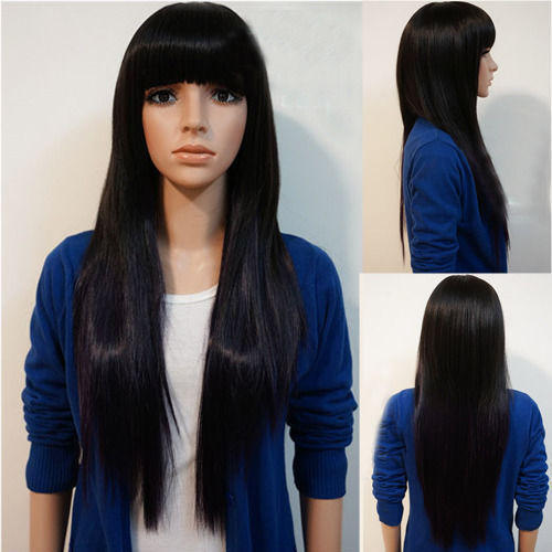 Fluffy Neat Bang  Long Straight High Temperature Silk Chemical Fiber Wig