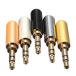 3 Pole Male Headphone Jack Plug Metal Audio +Heat Shrinkable Tube