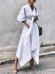 Women 3/4 Sleeve Asymmetrical Midi Shirt Casual Belted Long Dress - EY Shopping