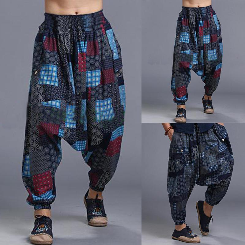 Mens Ethnic Drop Crotch Harem Pants Baggy Trousers Dance Yoga Thai Bottom - EY Shopping