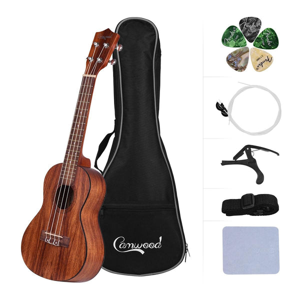 Camwood CU-23T 23 Inch Teakwood Acoustic Concert Ukulele with Gig Bag