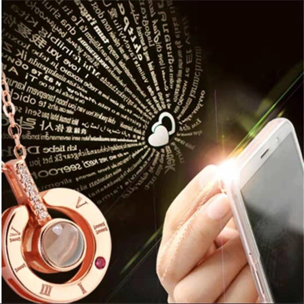 Trendy 100 Languages I Love You Pendant Necklace Metal Multiple Wearing Methods Projection Necklace
