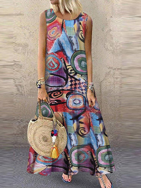 Women Retro O-neck Floral Print Sleeveless Maxi Dress - EY Shopping