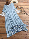 Daisy Print Patchwork O-neck Short Sleeve Loose Casual Midi Dress - EY Shopping