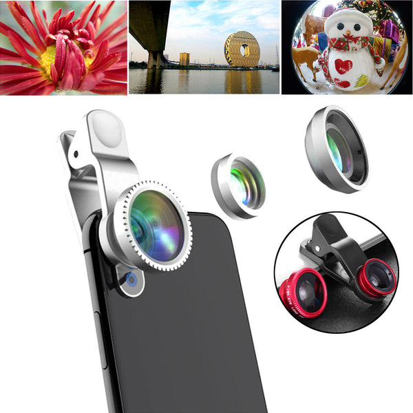 Universal 3 in1 HD 0.65X Wide Angle 10X Macro Fisheye Camera Lens for Xiaomi Samsung iPhone