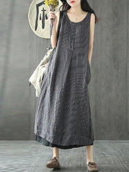 Vintage Women Sleeveless O-neck Side Pocket Mid-long Dress - EY Shopping