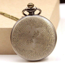 DEFFRUN Hollow Flower Pattern Simple Dial Chain Quartz Pocket Watch