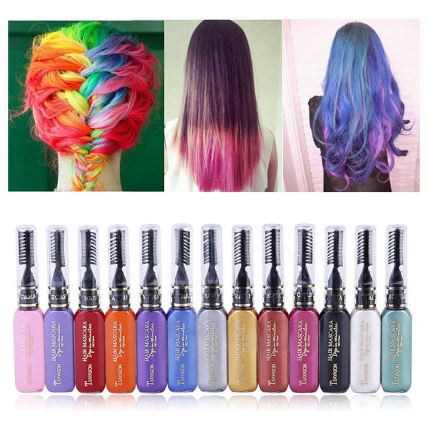 13 Colors DIY One-Time Hair Mascara Dyes Temporary Non-Toxic Disposable Hair Cream