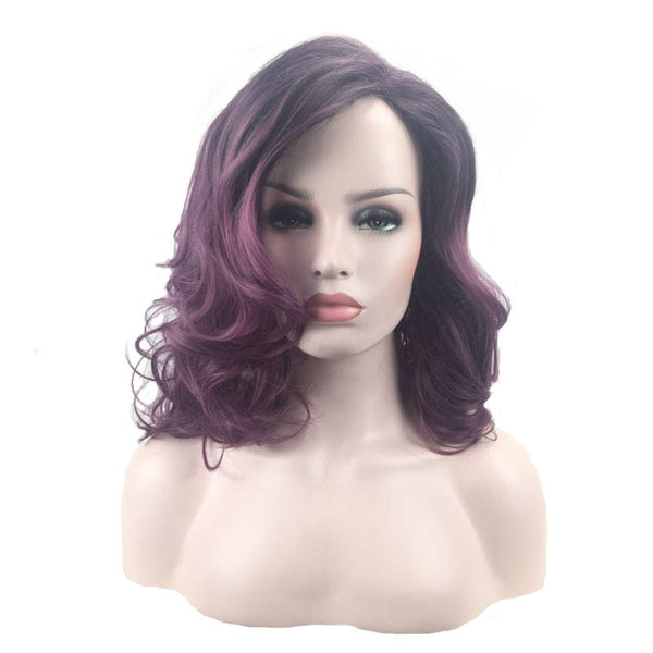 Long Wavy Curls Gradient Color Synthetic High-temperature Fiber Wig
