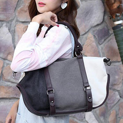 Women Quality Canvas Casual Color Block Large Capacity Handbag Shoulder Bag Crossbody Bag - EY Shopping