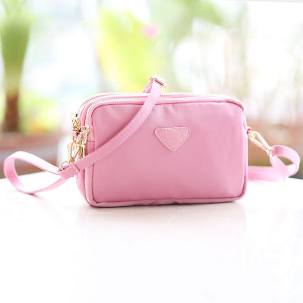 Women Water Resistant Multi-slot Clutch Bags Nylon Solid Mini Crossbody Bag