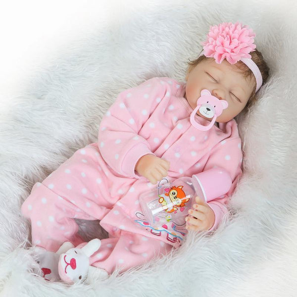 22''Handmade Lifelike Baby Girl Doll Silicone Vinyl Reborn Newborn Dolls Clothes Baby Doll Toy