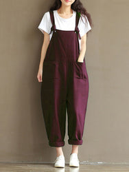 S-5XL Casual Women Loose  Strap Pocket Jumpsuit Trousers