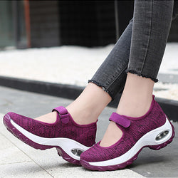 Women Casual Mesh Hollow Out Hook Loop Platform Sneakers