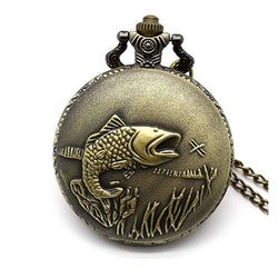 DEFFRUN Big Auspicious Fish Brown Restro Quartz Pocket Watch