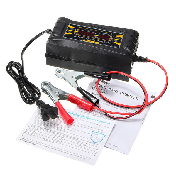 SUOER 12V 10A Smart Fast Battery Charger LCD Display For Car Motorcycle