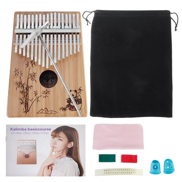 17-Key Kalimbas Bamboo Thumb Piano, Marimbas Finger Instrument and Complete Accessories Learning Book Tuning Hammer