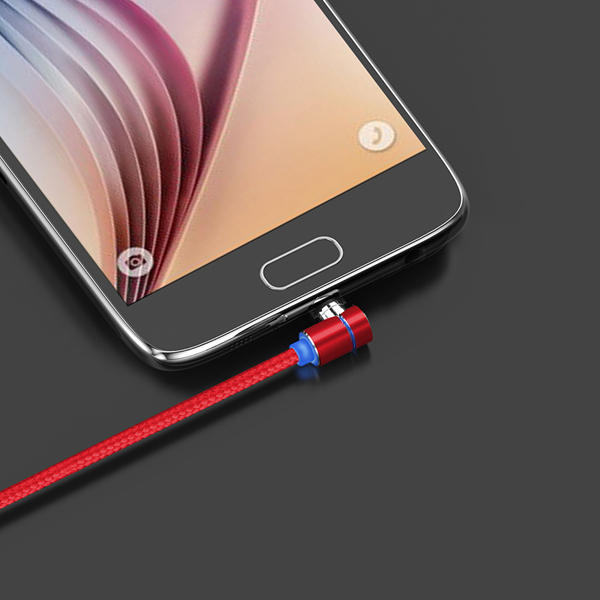TOPK L-Line 90 Degree Angle Micro USB Magnetic Braided Fast Charging Data Cable 1M For Phone Tablet