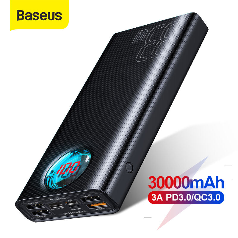 Baseus 30000mAh Power Bank 5 Outputs and 3 Inputs 18W USB-C PD3.0 QC3.0 Fast Charging LED Digital Display External Battery For iPhone 11 SE 2020 For Huawei