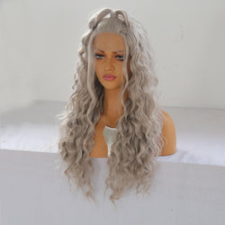 24'' Women Natural Wavy Lace Front Wig Girls Golden Blonde Curly Synthetic Hair