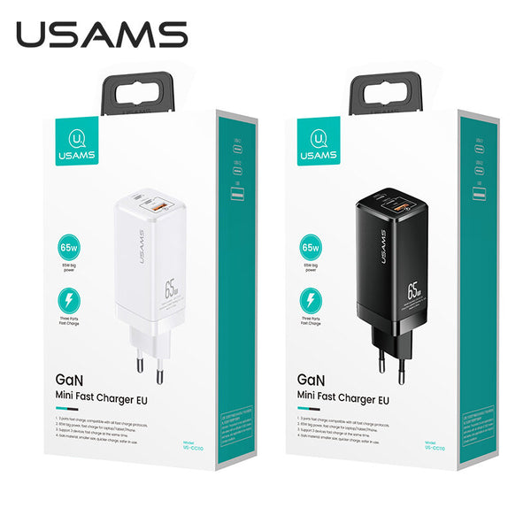 [GaN Tech] USAMS Mini 65W 3-Port USB PD Charger PPS PD3.0 QC3.0 FCP SCP Fast Charging Wall Charger Adapter With EU Plug US Plug For iPhone 11 SE 2020 For iPad Pro 2020 MacBook Air 2020 For Samsung Galaxy Note 20 Huawei P40 Xiaomi