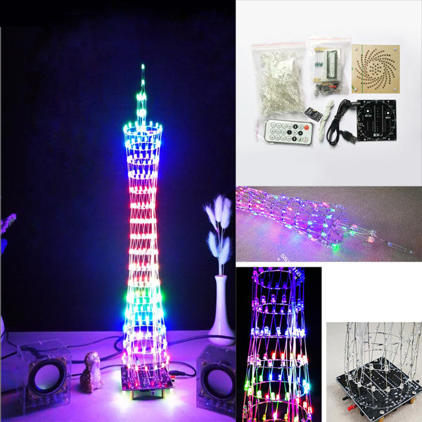 DIY bluetooth Canton Tower LED Light Cube Kit Remote Control Music Spectrum Electronic Kit